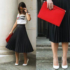 *NEW* Zara Black Pleated Midi Skirt